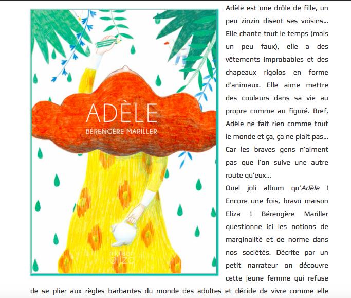 """Chronique de """"Adèle"""" de Bérengère Mariller dans La mare aux mots"""