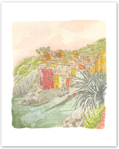 """Reprographie de l'illustration des Cinque Terre extraite du livre de voyage """"Une Italie"""" de Johan Dayt - éditions Maison Eliza"""